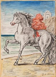 Cavallo bianco con drappo rosso in riva al mare